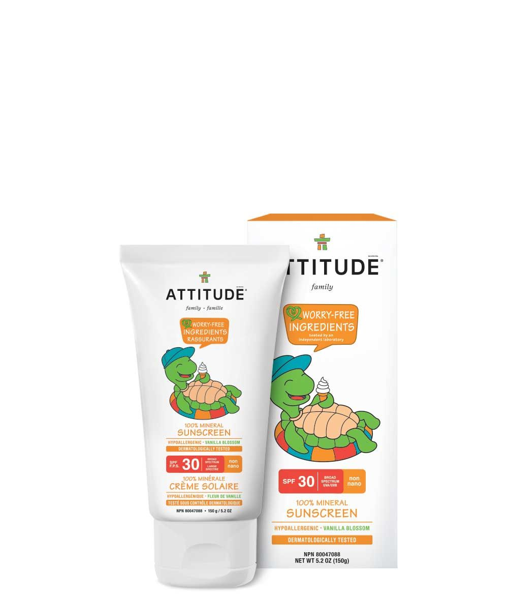 100 Mineral Sunscreen Spf 30 Vanilla Blossom 150g Attitude Mineral Sunscreen Sunscreen Spf Sunscreen