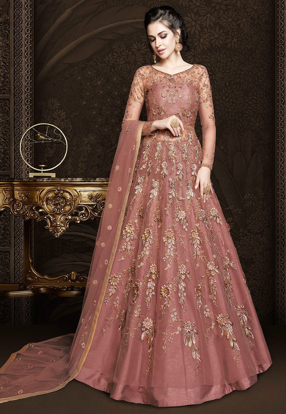 4fa1c09aa6 Buy Embroidered Net Lehenga in Old Rose online, Item code: LQU611, Color:  Pink, Occasion: Wedding, Festive, Work: Contemporary, Resham, Stone Work,  Zari, ...