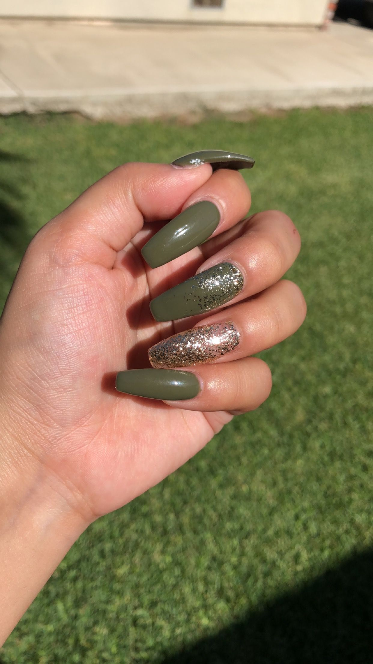 Olive Green Coffin Nails Gold Glitter Green Nail Designs Gold Glitter Nails Coffin Nails Designs
