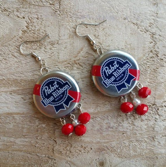 Pabst Blue Ribbon Beer Cap Earrings with Red Dangles - Bottle cap Earrings - Gift for Bartenders - Beer Earrings - Alcohol Earrings - cute