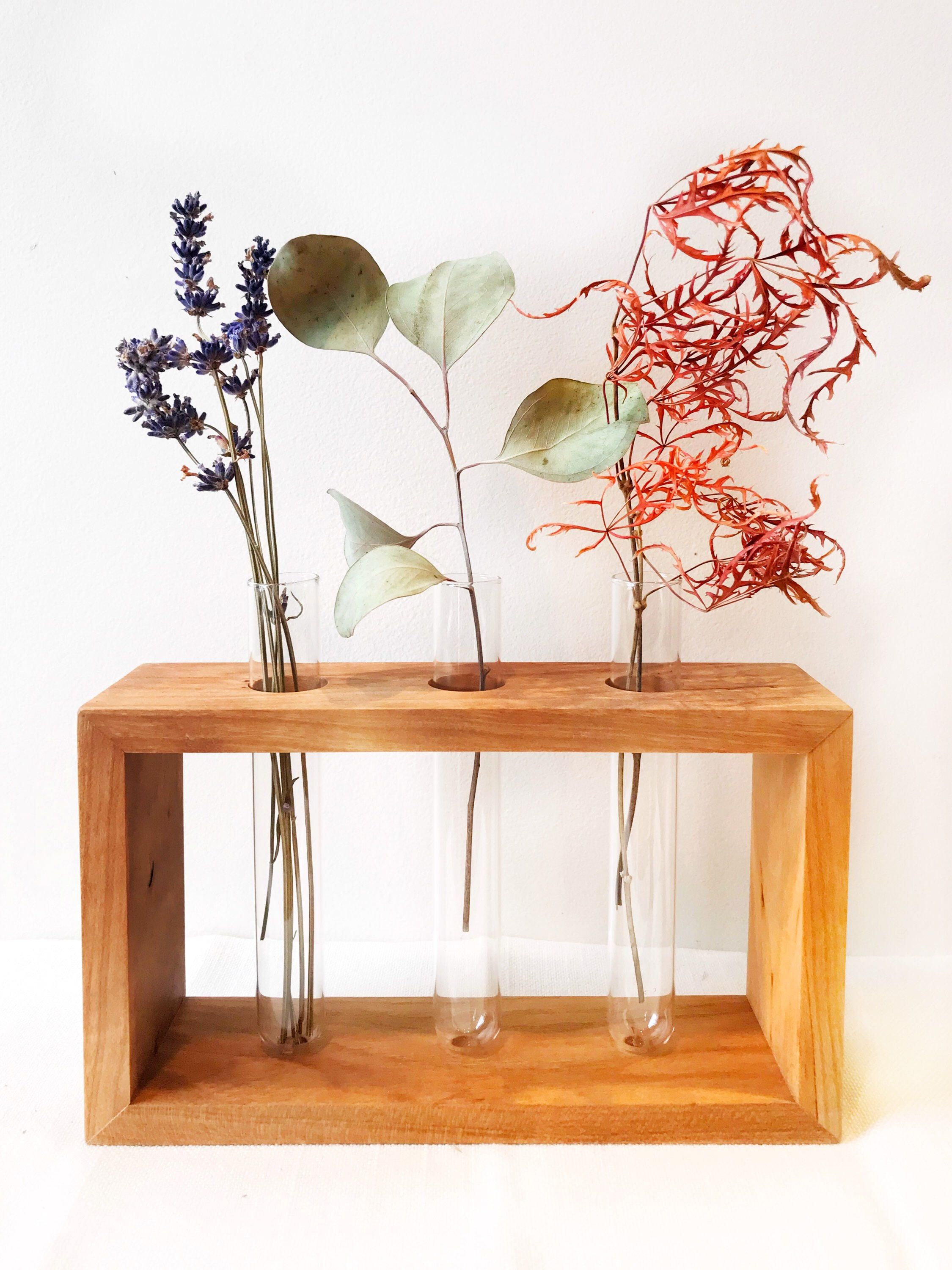Wood Test Tube Bud Vase Set In Cherry  Modern