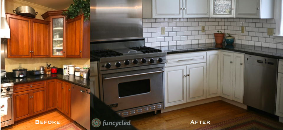 Best Funcycled Updated This Kitchen By Painting The Cabinets 400 x 300