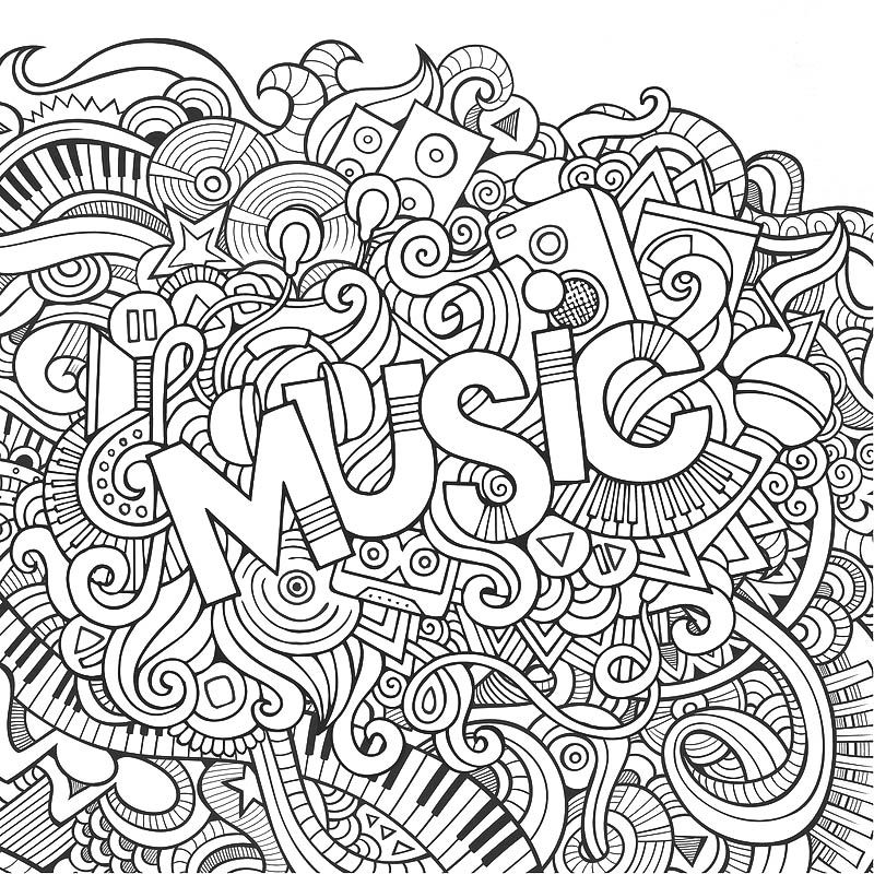 music color page- I like to print these on the back of SUB plan - fresh music mandala coloring pages