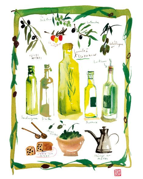 Kitchen Art, Olive Oil Poster, Watercolor Illustration, Food Print, Kitchen  Decor,