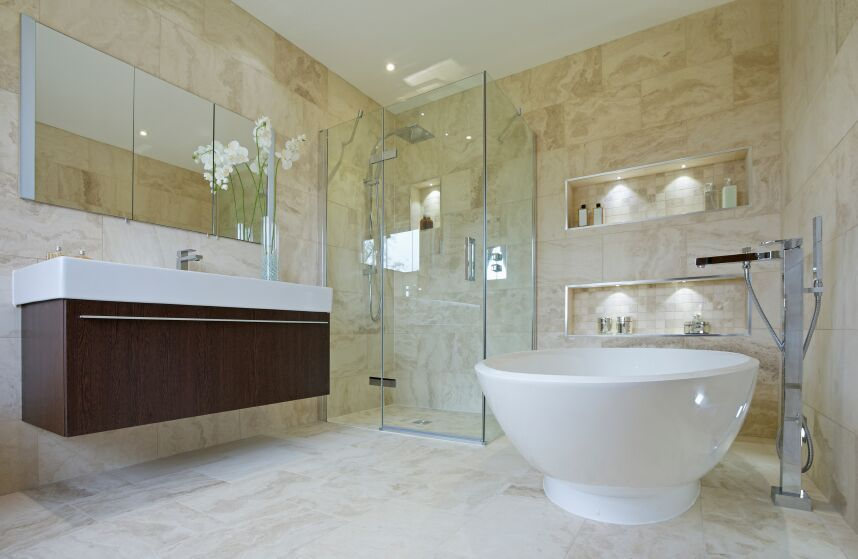 80 Master Bathrooms with Corner Showers for 2018 | Floating vanity ...