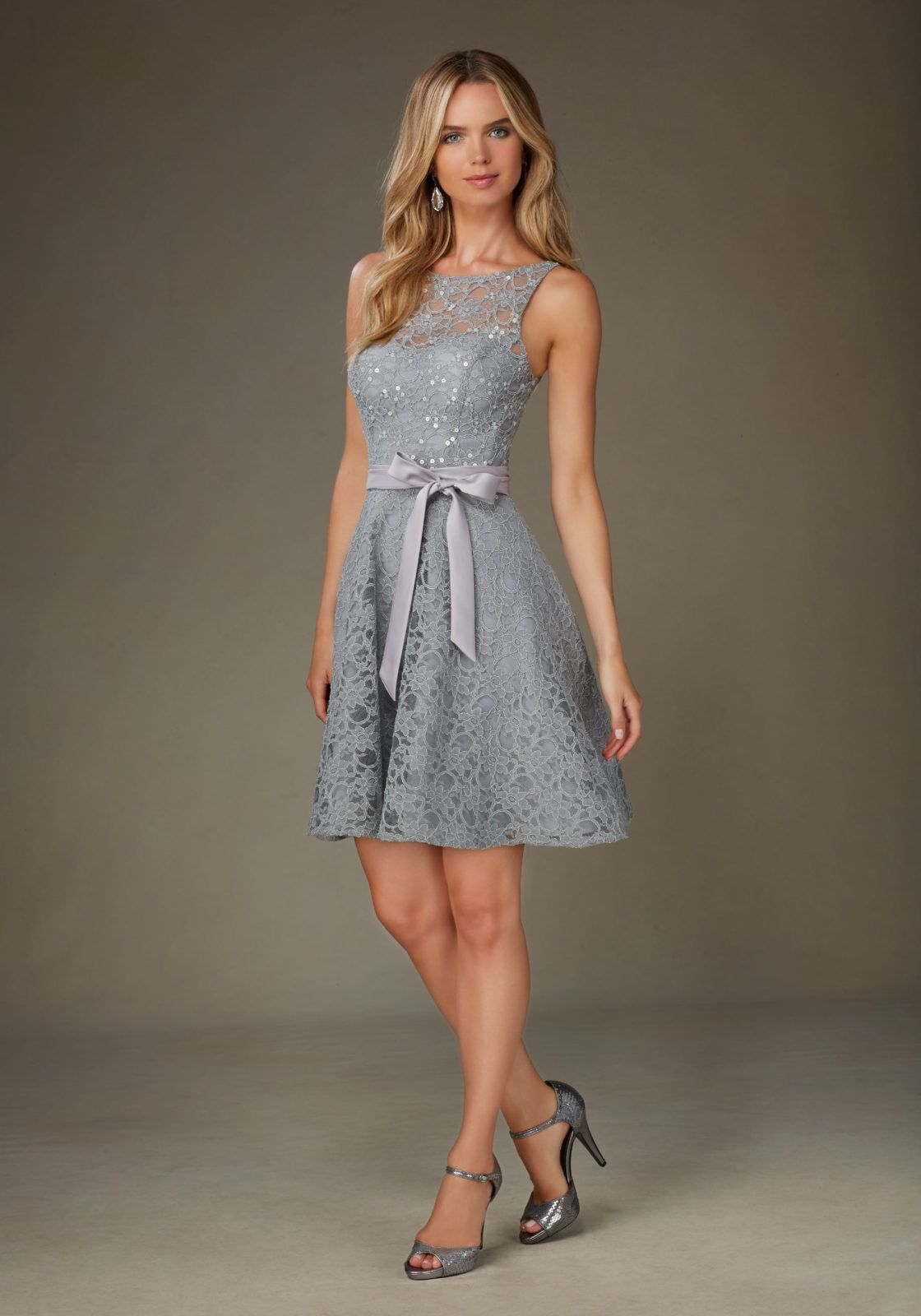 Delicately Beaded Lace Bridesmaid Dress With Bateau Neckline And Matching Tie Sash