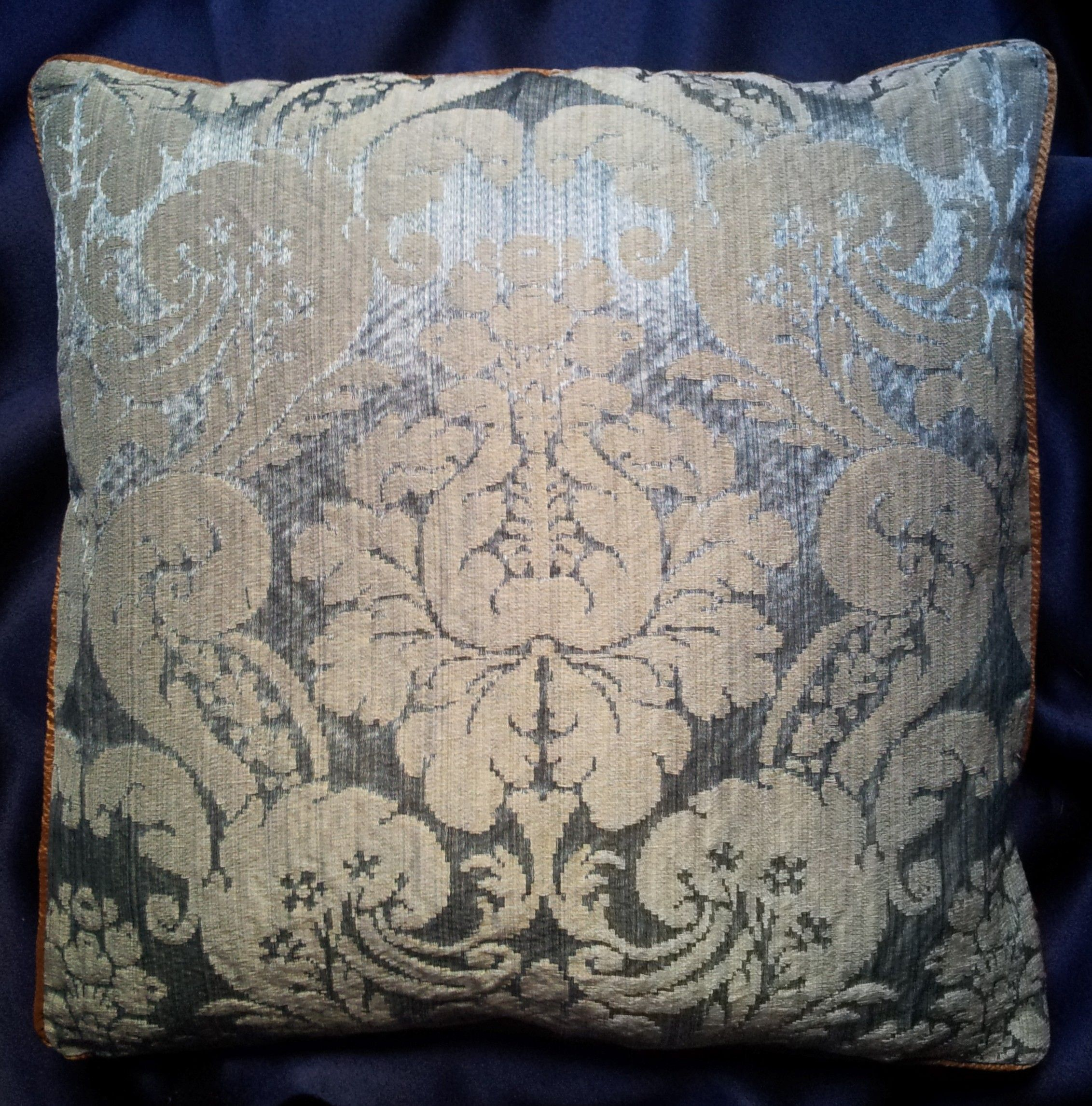 Rubelli Ruzante Light Blue Silk Damask Fabric Throw Pillow Cushion
