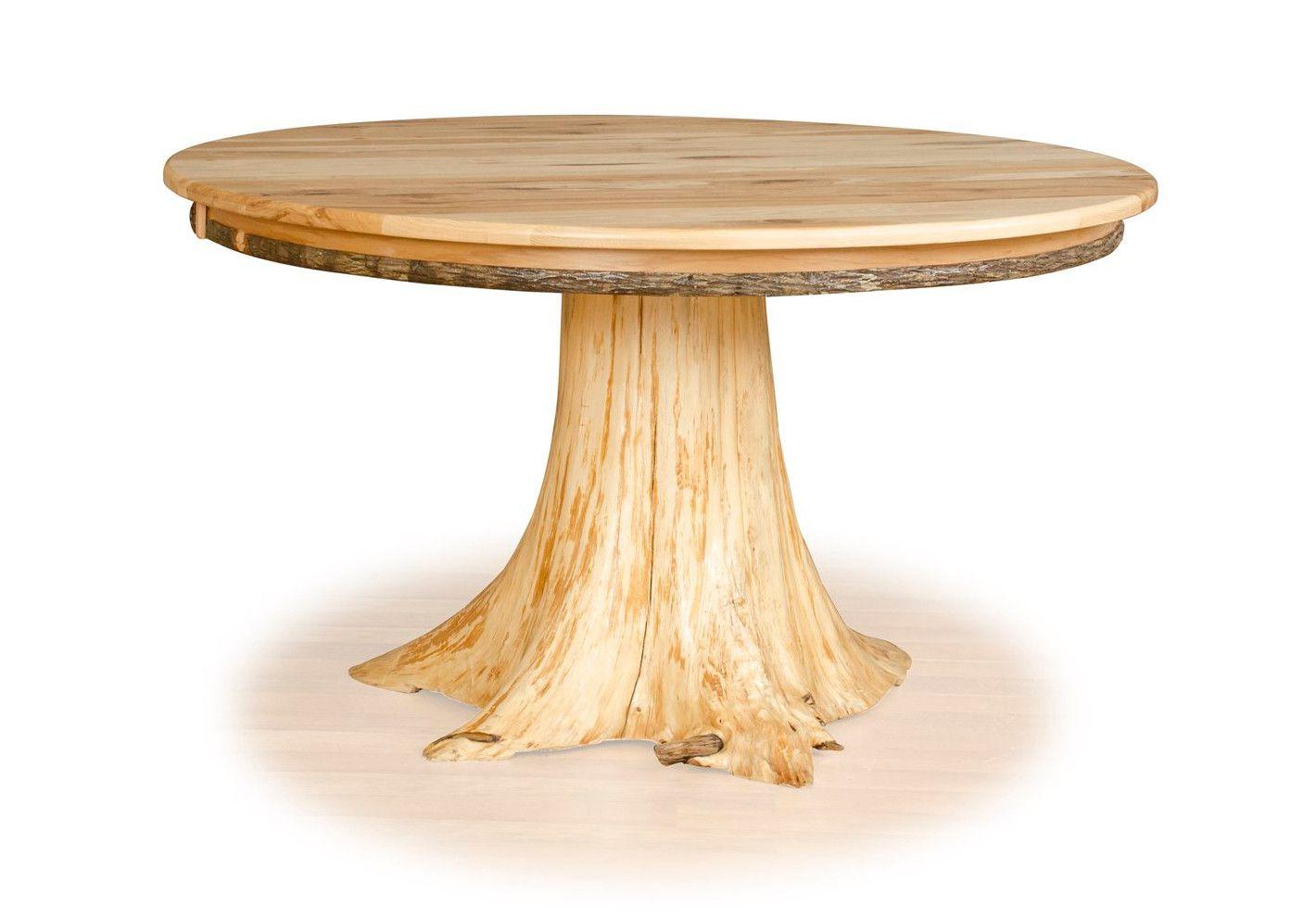 Custom White Cedar Stump Table with Live Edge Hickory Top | Stump ...