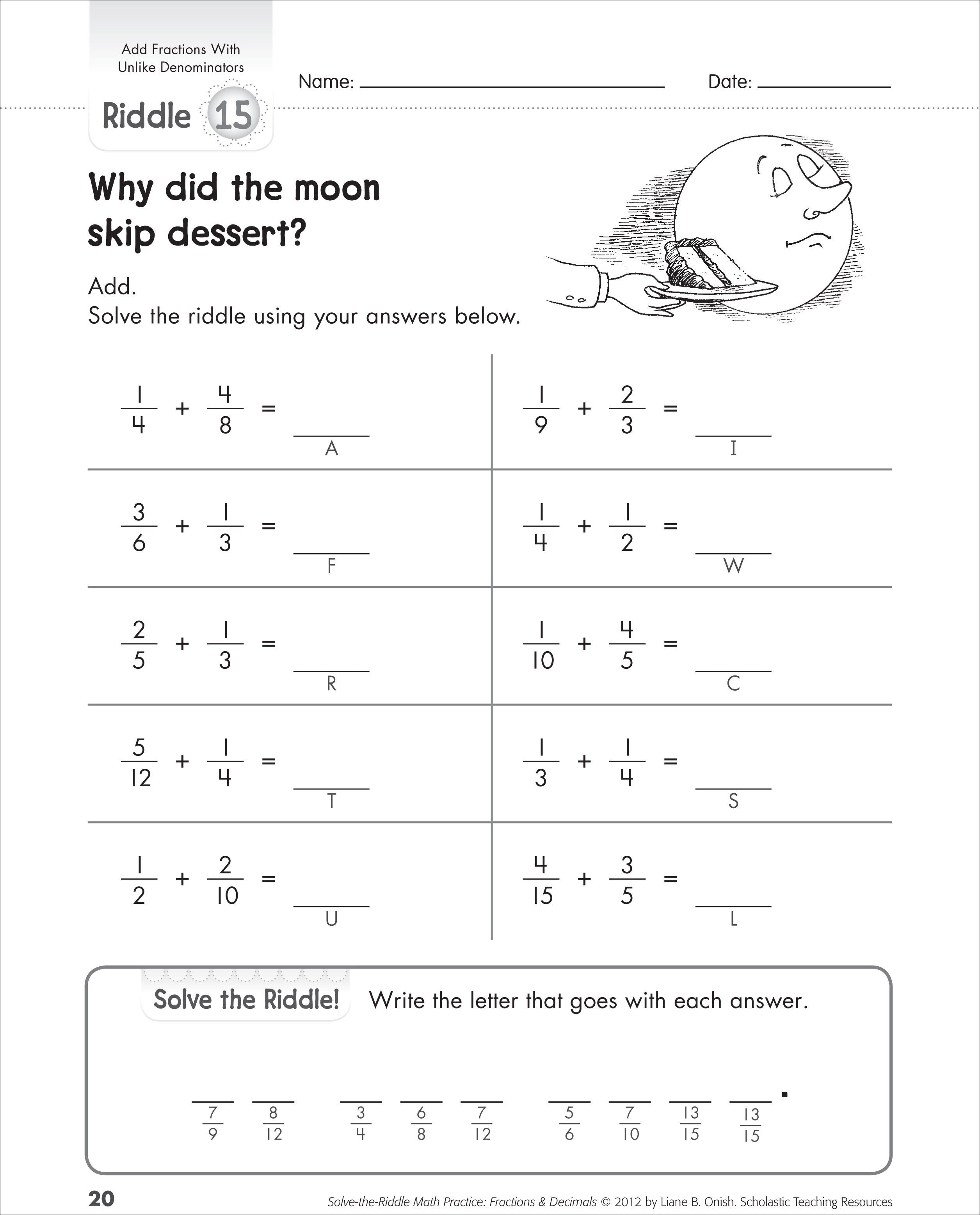 Addition Of Fractions And Riddles