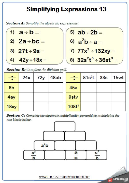Simplifying expressions maths worksheet Simplifying