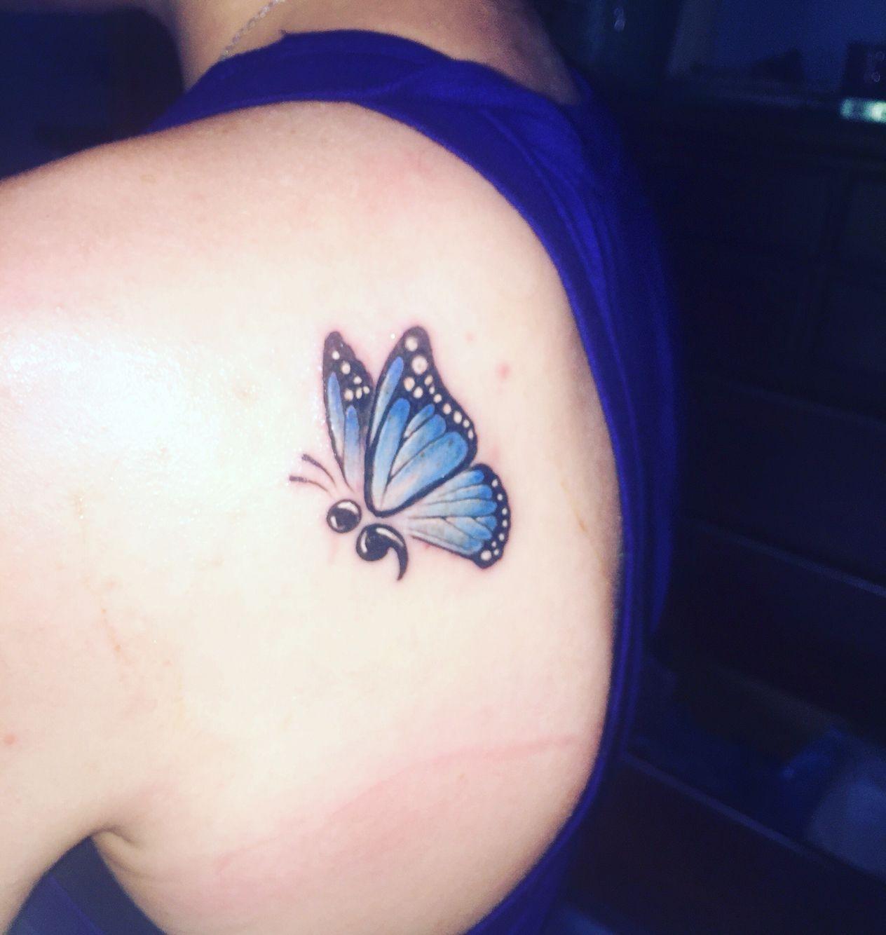 Semicolon butterfly tattoo | Semicolon butterfly tattoo, Butterfly ...