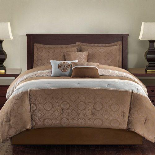 Mainstays 7-Piece Duncan Bedding Comforter Set, Blue/Brown Dream