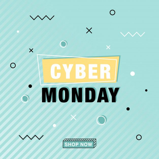 Modern cyber monday vector banner in memphis style
