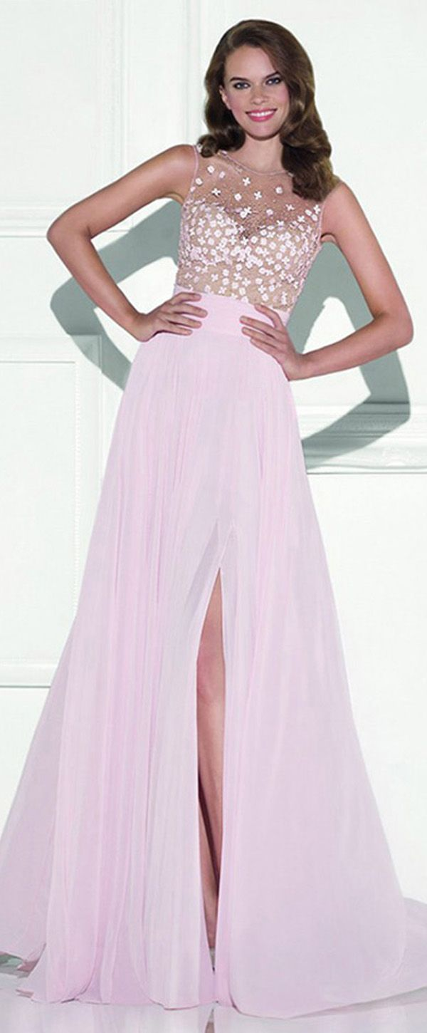 Delicate Chiffon Jewel Neckline A-line Prom Dresses With Beadings ...