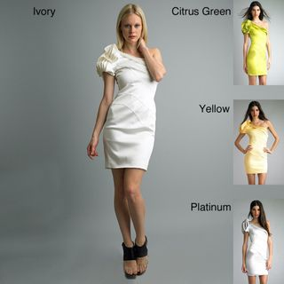 @Overstock - This asymmetrically styled dress by Issue New York is highlighted by one, oversized ruffle shoulder. The asymmetry is continued with wavy seaming across the front of this beautifully designed sheath dress.http://www.overstock.com/Clothing-Shoes/Issue-New-York-Womens-One-shoulder-Ruffle-Dress/6669173/product.html?CID=214117 $97.99