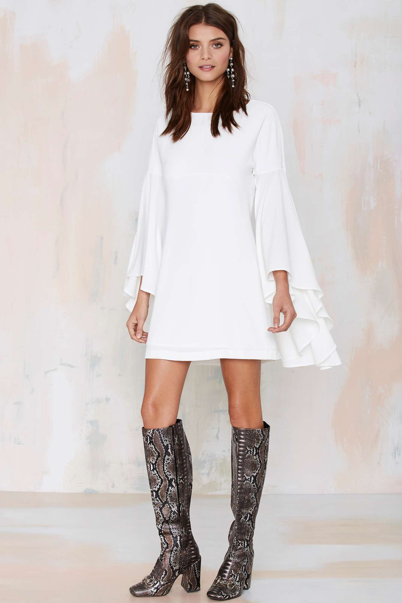 Nasty Gal Hells Bells Crepe Dress - Ivory | Shop Clothes at Nasty Gal!
