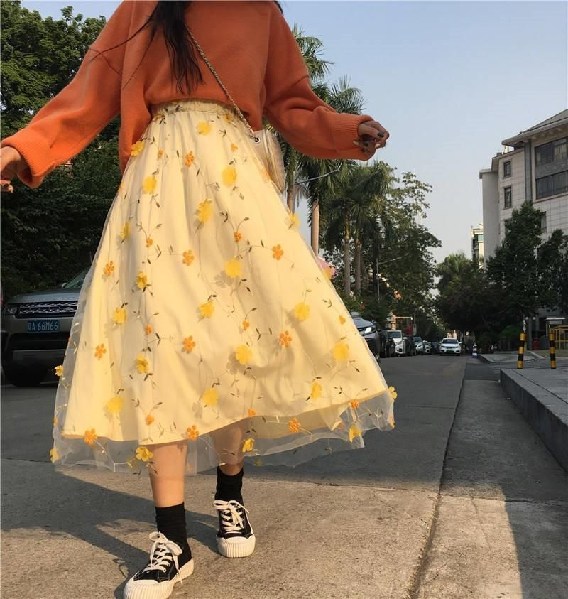 Floral printed high waist mesh skirt
