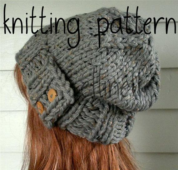 Knit Hat Pattern Easy Slouchy Beanie Beret Instant Door Ellinell