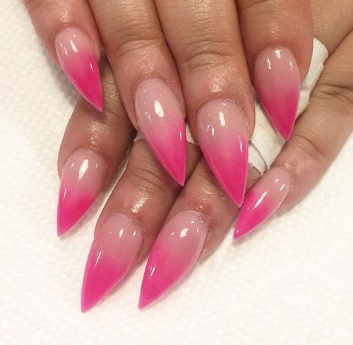 Almond Hot Pink And Ombre Nails Image Pink Ombre Nails Hot Pink Nails Nail Designs Summer