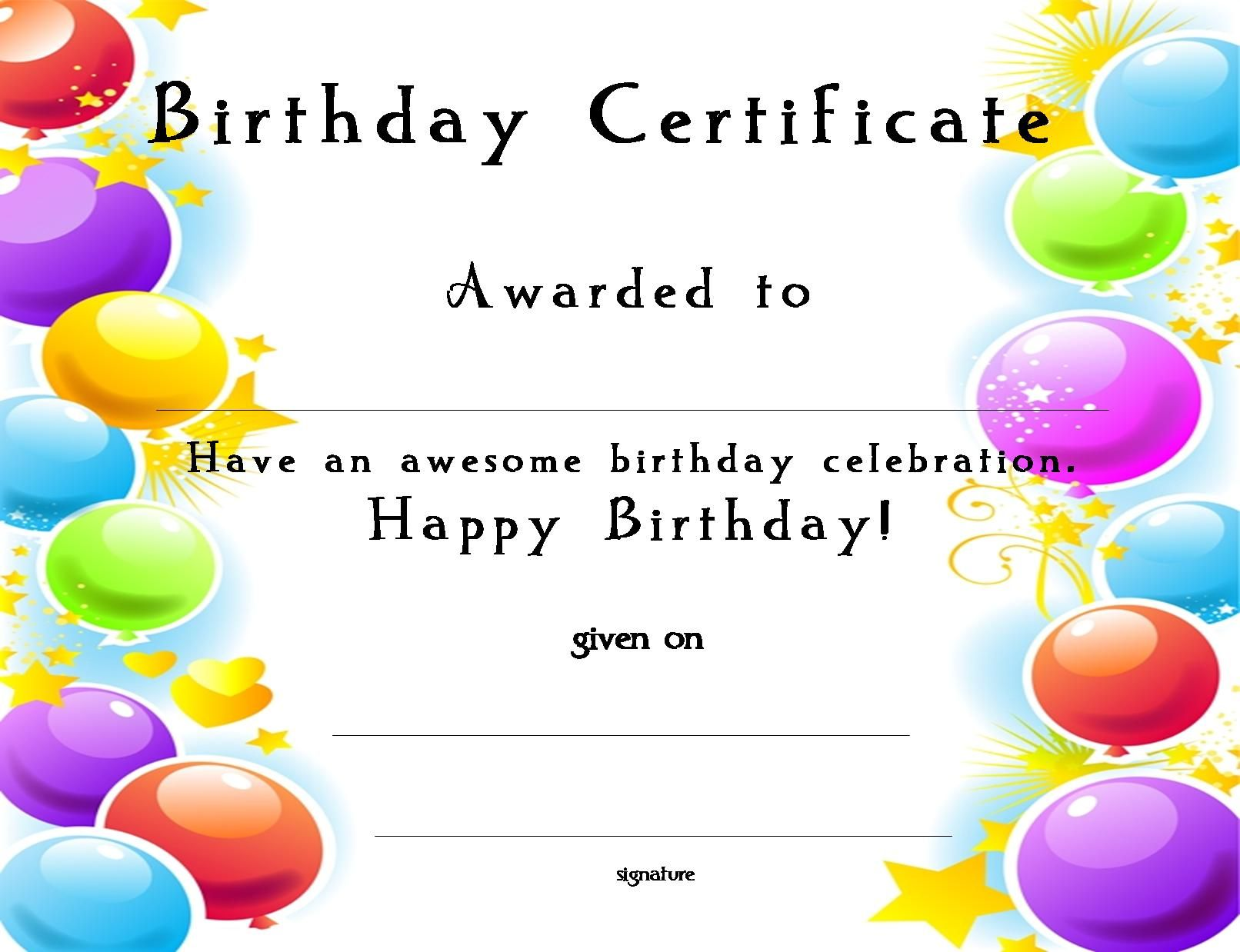 This is a graphic of Refreshing Free Printable Birthday Certificates