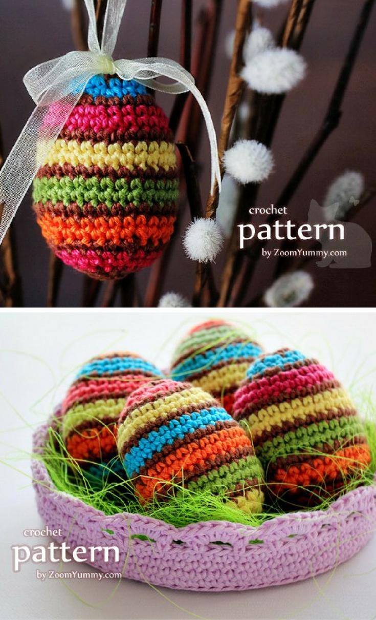 New Crochet Pattern – Striped Easter Eggs In A Bowl | Grammy\'s Ideas ...