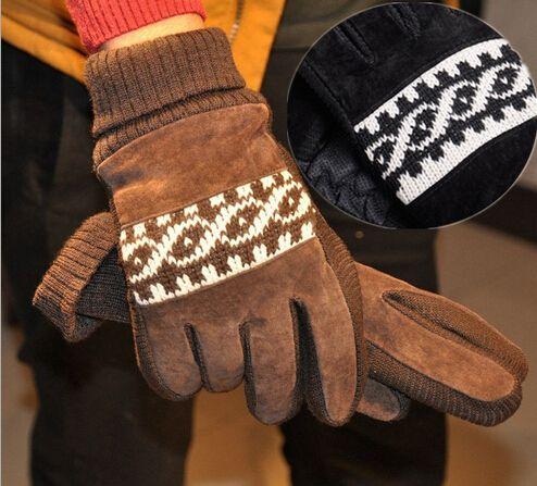 Venta al por mayor tejer guantes de lana de invierno de corea del estilo  hombres de cuero de cerdo guantes suaves hombres hombres guantes envío  gratis(China ... 8b131445026