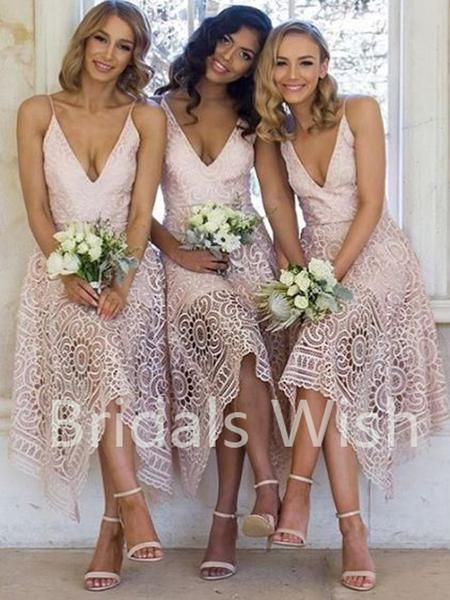 Cheap Lace Pink High-low V-neck Short Bridesmaid Dresses, BW0006 Cheap Lace Pink High-low V-neck Short Bridesmaid Dresses, BW0006 #lacebridesmaids