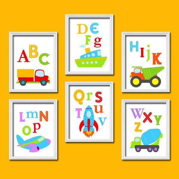 Bold Bright Colorful Alphabet Cars Transportation Artwork Set of 6 ...