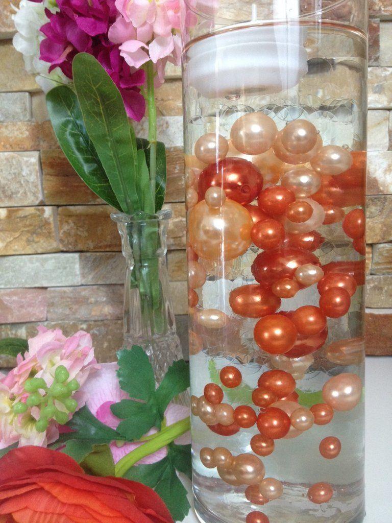 Diy floating pearl centerpiece vase filler pearls peachcoral diy floating pearl centerpiece vase filler pearls peachcoral orange pearls 80 jumbo mix reviewsmspy