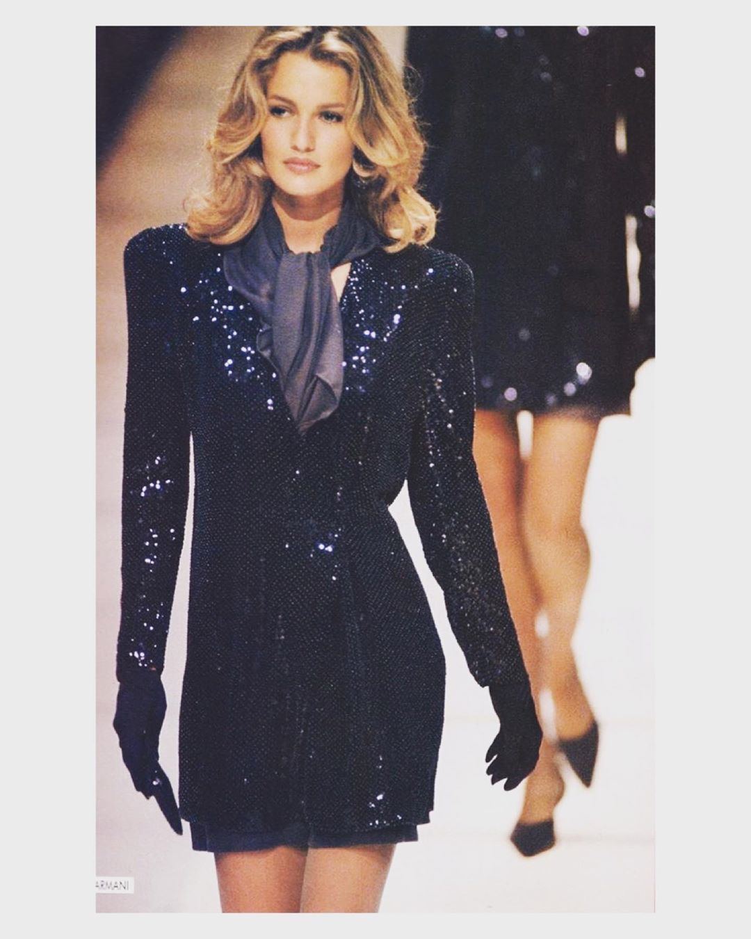 "Karen Mulder's Instagram post: ""#karenmulder #supermodel #fashionicon #90sfashion #catwalk #giorgioarmani"""