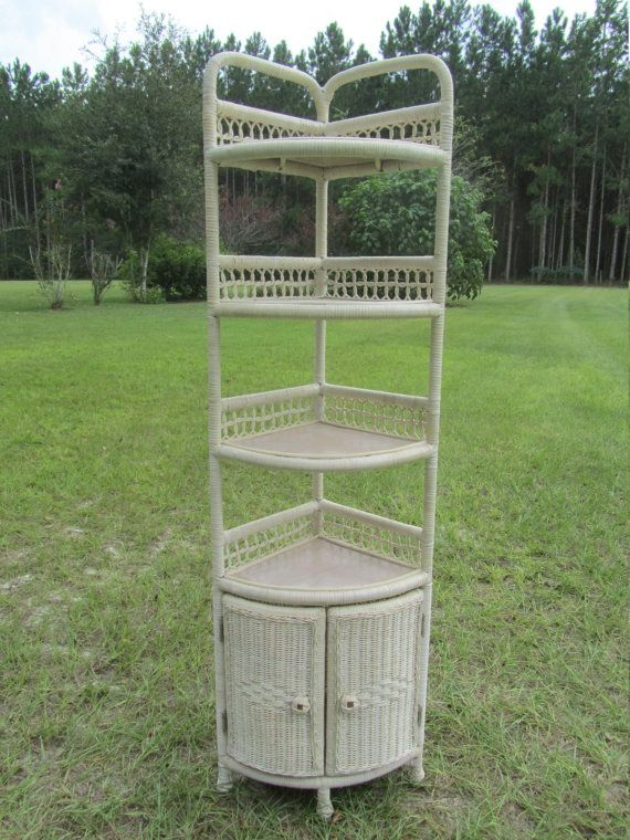 Corner Shelf, Wicker Shelf,vintage Furniture, White Wicker,shabby Chic  Decor,cabinet,vintage Shelf,wall Shelf,tall Cabinet, Storage