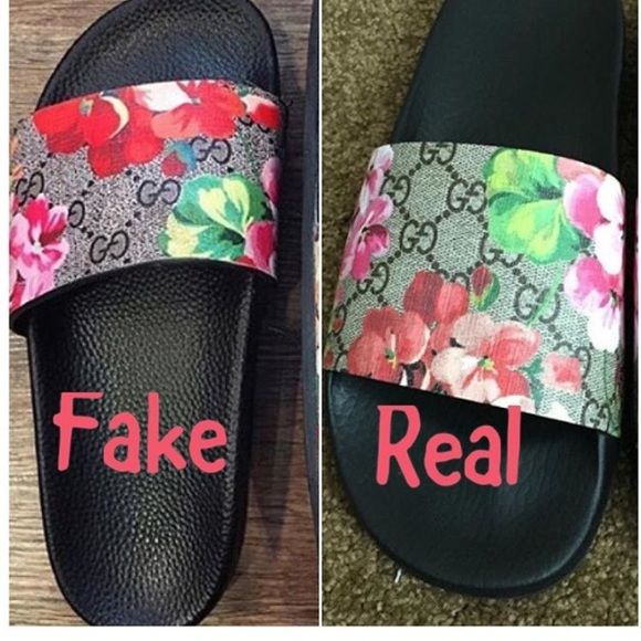 ef0be740117 Fake VS Real Gucci slides.