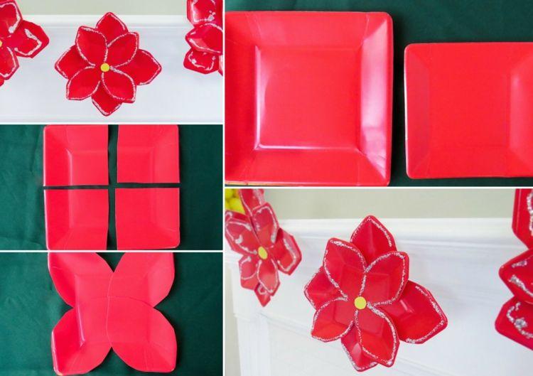Weihnachtsgeschenke Basteln Kindern Schule Pappteller Rot