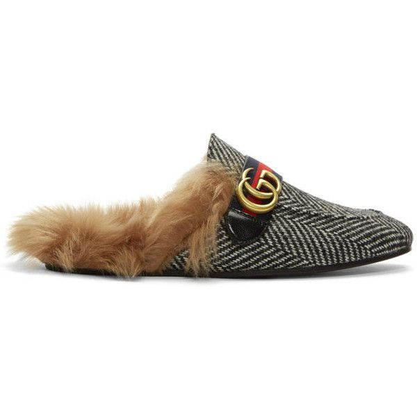 Black and White Herringbone Wool-Lined Princetown Slip-On Loafers Gucci XLYYyfb8r