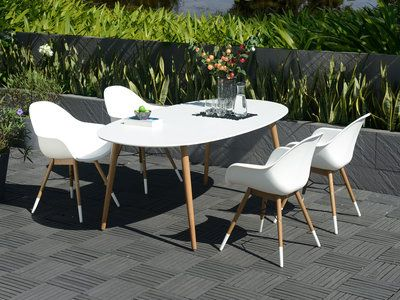 Salon de jardin : 1 table ovale 190cm plateau duranite + 4 fauteuils ...