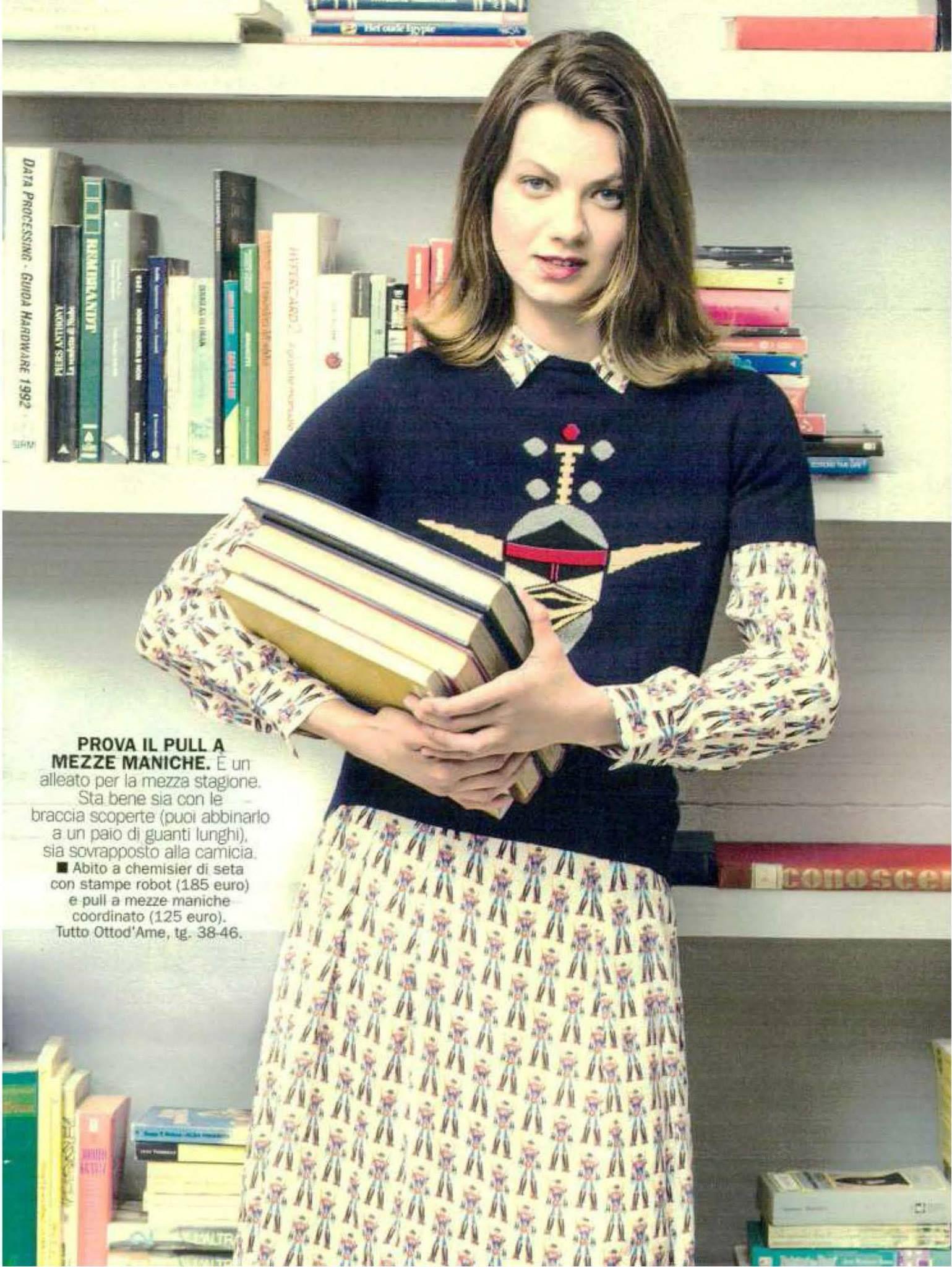 Donna Moderna issue 37 - Settembre 2015 Abito Chemisier di seta con stampa robot e pull mezze maniche stampa robot #ottodame