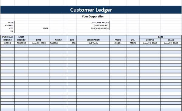 budget ledger template