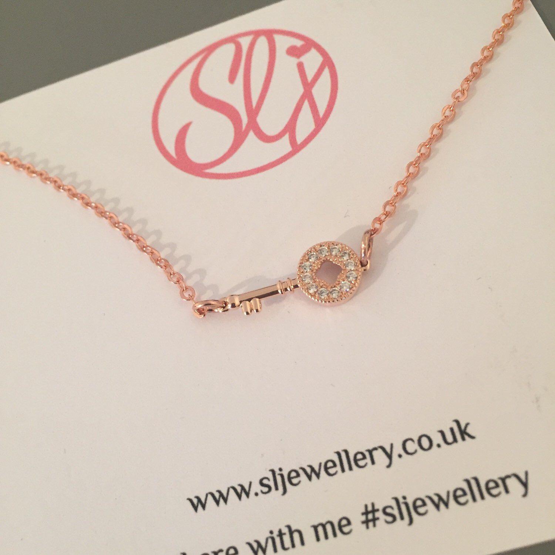 Key Necklace Rose Gold Necklace Pretty Key Charm Key Jewellery