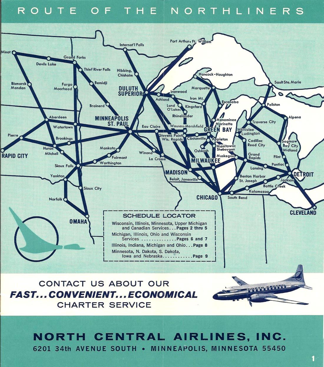 Route map for North Central Airlines. | Maps | Northwest airlines ...