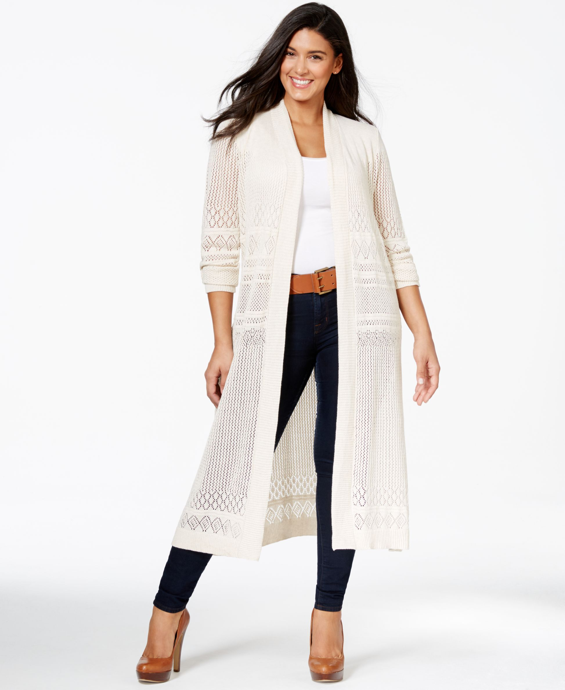 Belldini Plus Size Pointelle-Stitch Duster Cardigan | Dusters ...