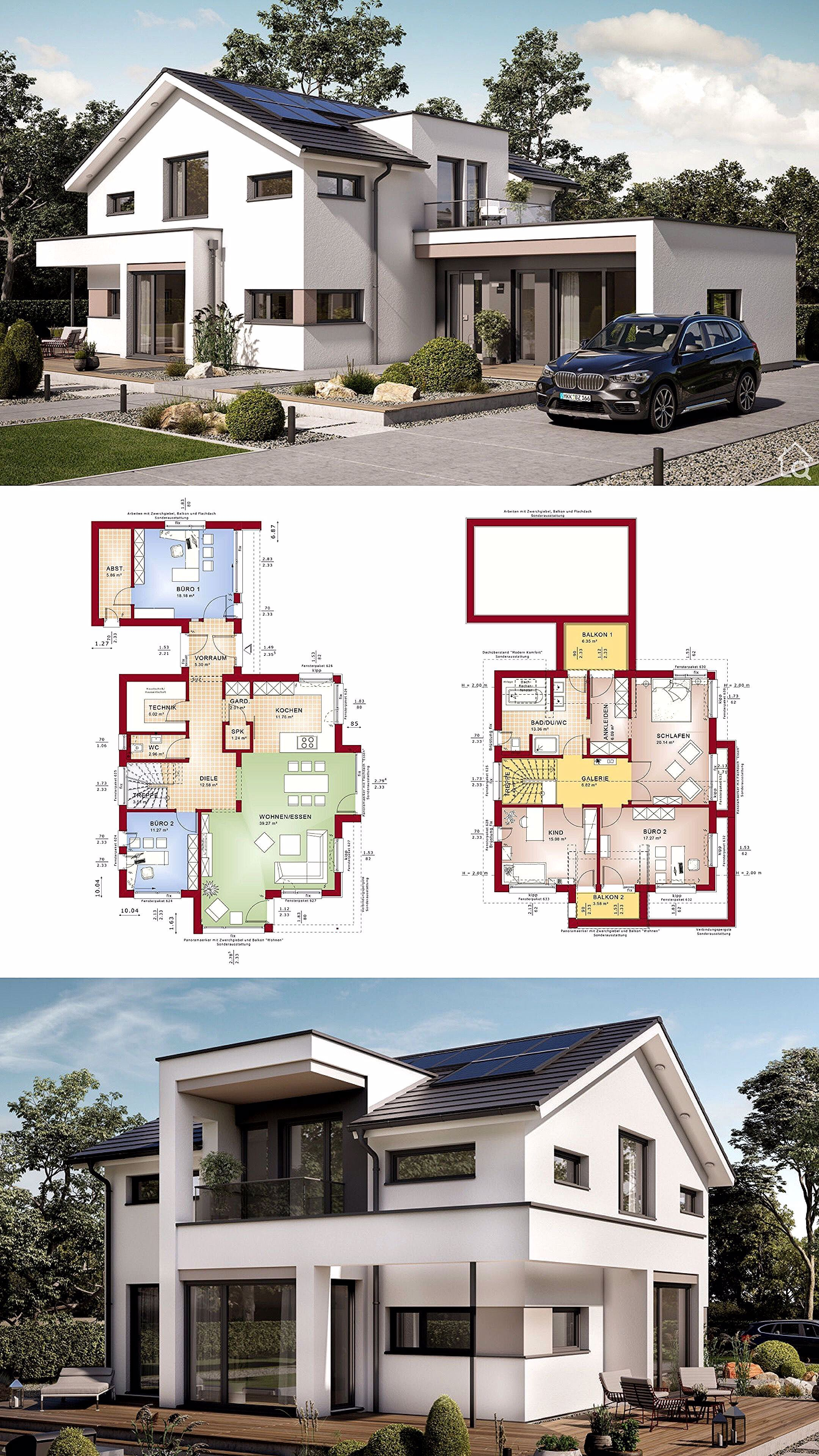 Modern house with gable roof & separate office extension, 5 room floor plan open …  – Haus