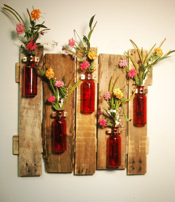 Your color choice unique large wall piece with colored for Colored bottles for decorations