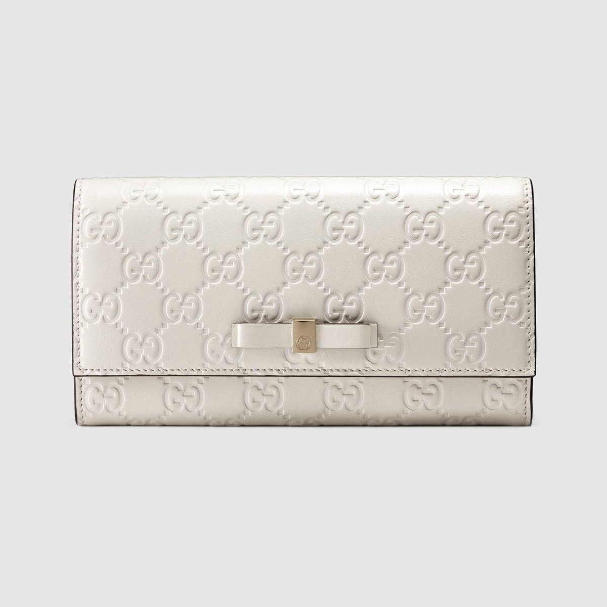 31f750f8587 GUCCI Bow Gucci Signature continental wallet - white Gucci signature.  gucci