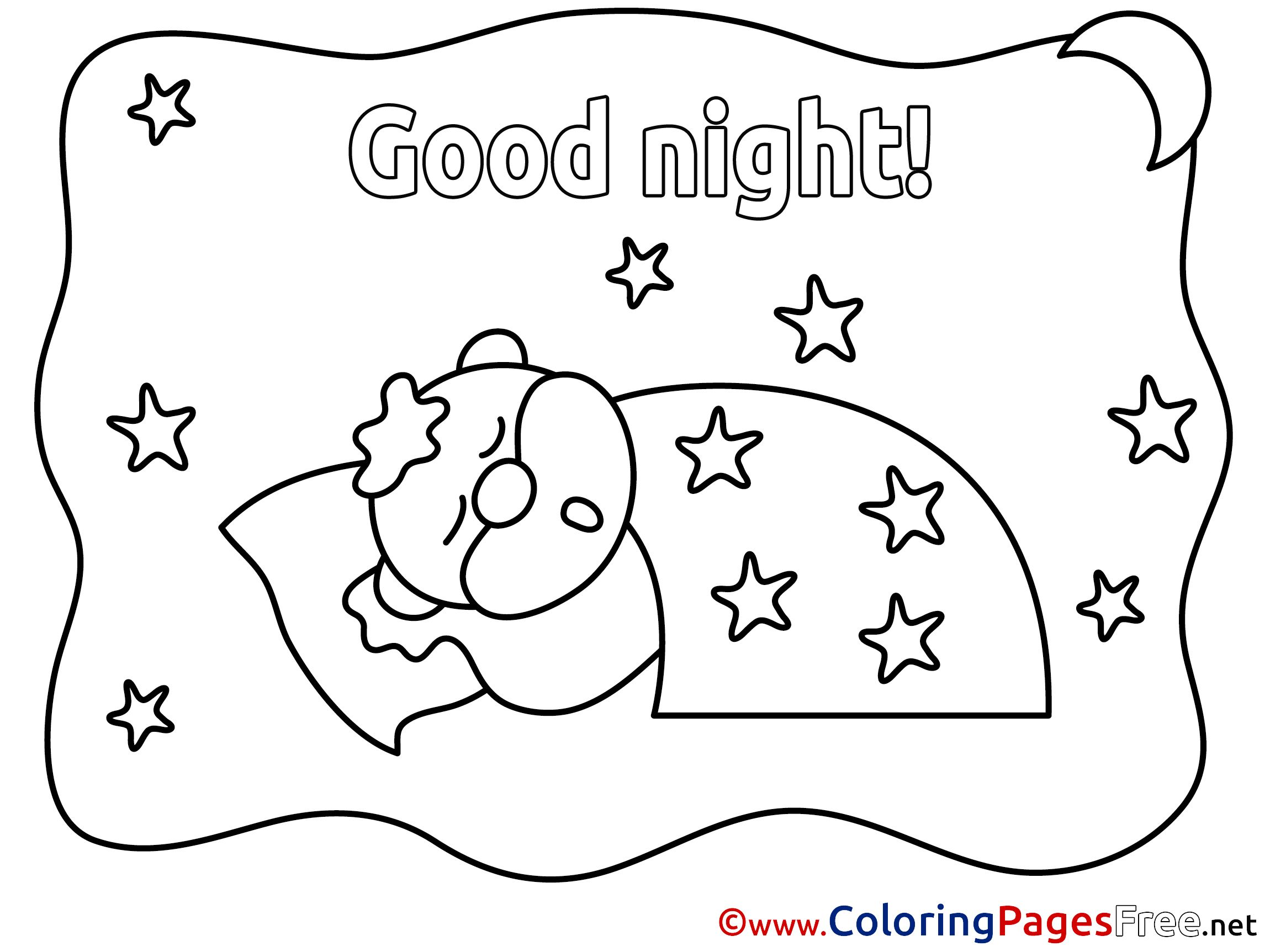 Good night coloring pages beneath star quilt