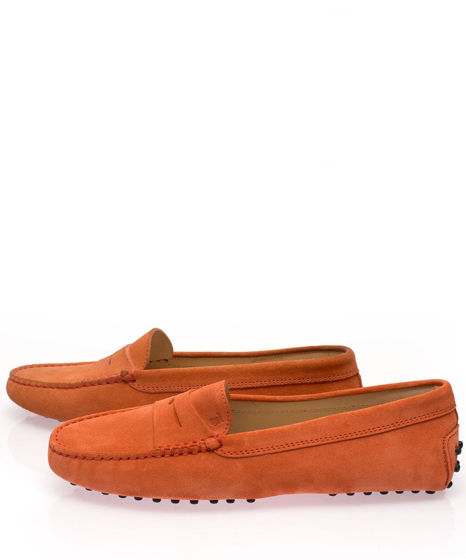 63a4ee27dd3 Tod s Orange Mocassino Gommino Suede Driving Loafers
