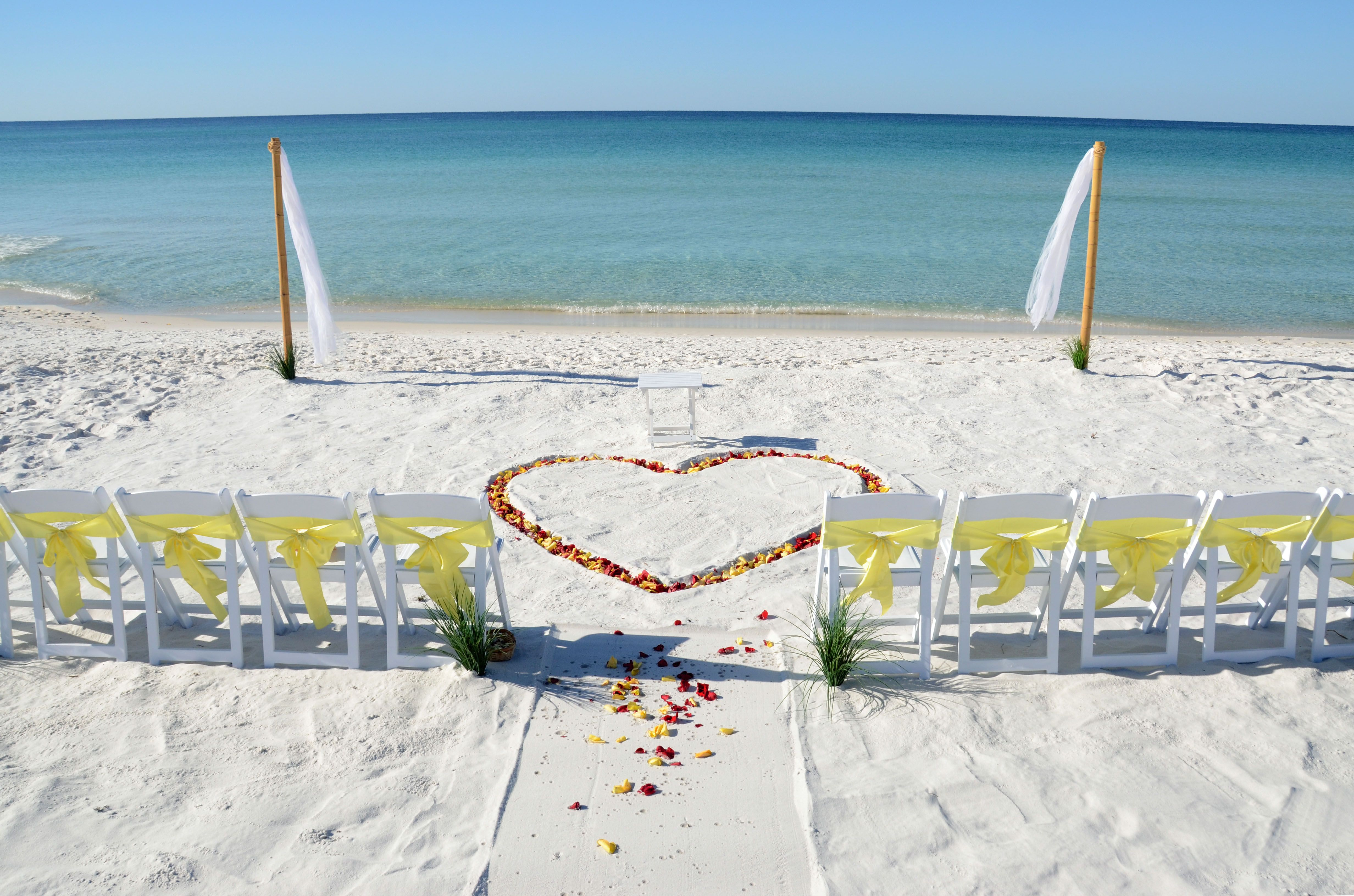 Beach weddings fort walton beach wedding packages sunset beach - Red And Yellow Rose Petals Form A Heart In The White Sand Of This Seagrove Beach Sunset Beach Weddingsbeach