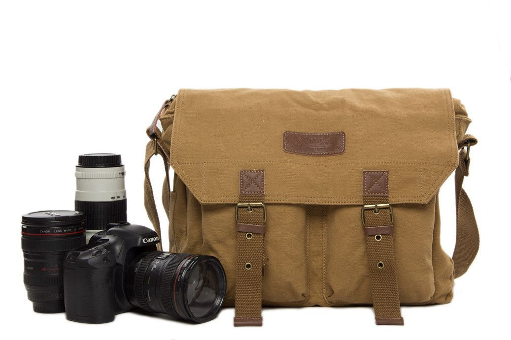 Khaki Canvas DSLR Camera Bag, Professional SLR Camera Purse Fit Canon Nikon F1003 #camerapurse