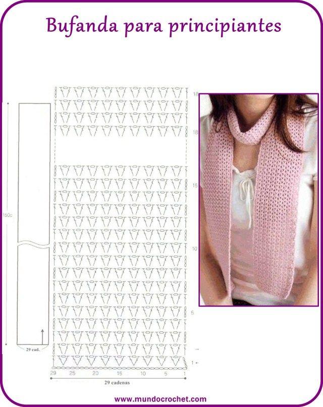Bufanda crochet fácil, Bufanda crochet principiantes | Brei & hekel ...