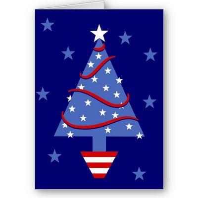Patriotic Christmas Tree Holiday Card christmas Pinterest