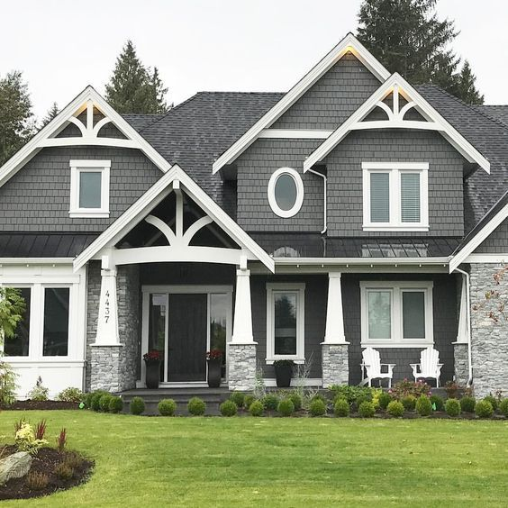White trim, grey siding, decorative pitch. | Gray house exterior, Grey exterior house colors, House paint exterior